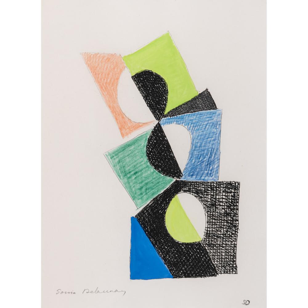 SONIA DELAUNAY (1885-1979) PLANCHE TIRÉE DU LIVRE JUSTE PRÉSENT, 1961