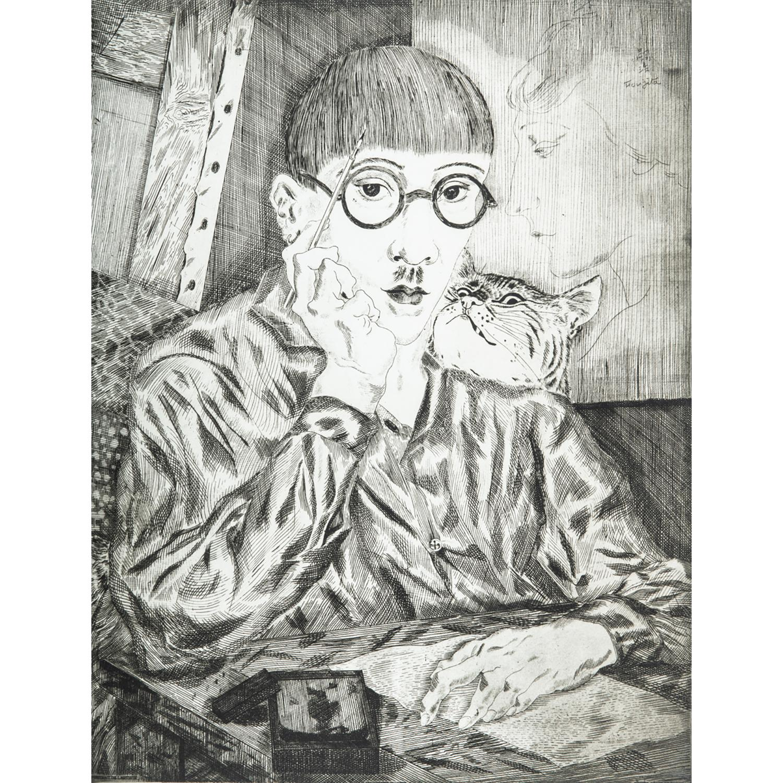 """TSUGUHARU LÉONARD FOUJITA (D'APRÈS) AUTOPORTRAIT AU CHAT (PORTRAIT DE L'ARTISTE), 1927 Pointe sèche sur papierMention imprimée """"chal..."""