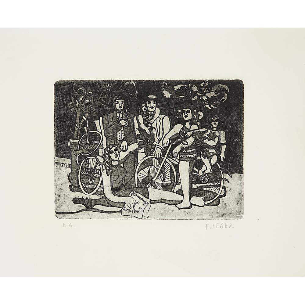 """FERNAND LÉGER (1881-1955) LES LOISIRS - HOMMAGE À LOUIS DAVID Eau-forte sur vélin Annotée """"E"""