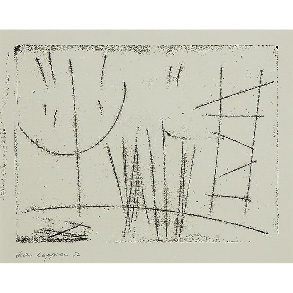 JEAN LEPPIEN (1910-1991) QUATRE OEUVRES : - Composition, 1948Linogravure sur papierSignée, datée '48' et annotée 'HS'Linocut on pape...