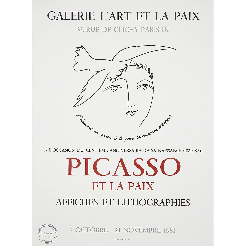 [AFFICHE]. - PABLO PICASSO (D'APRÈS) PICASSO ET LA PAIX