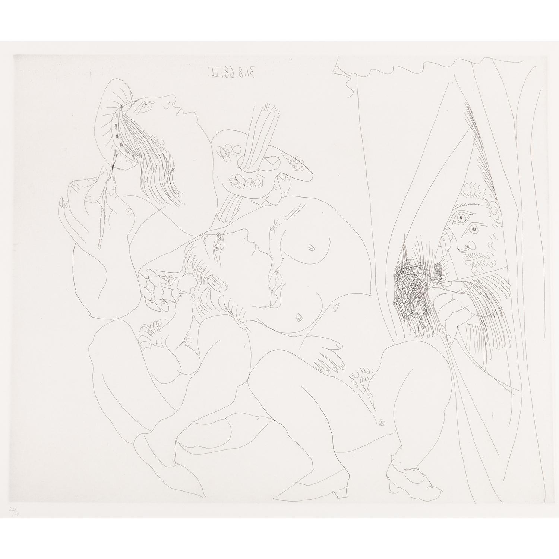 PABLO PICASSO (1881-1973) RAPHAËL ET LA FORNARINA V : Avec voyeur écartant le rideau, pl. 30, 31.8.68 III