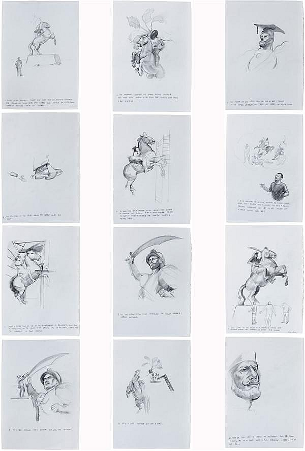 "CIPRIAN MURESAN (né en 1977) SANS TITRE (from the Story ""Invisible Clerk""  by Ilf and Petrov), 2013Set of 12 drawings Pencil on pape..."