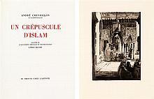 ANDRÉ CHEVRILLON UN CRÉPUSCULE D'ISLAM In-4°, 1930. Exemplaire n°79 sur 315, sur vélin d'Arches. Illustré de 36 eaux-fortes origina...
