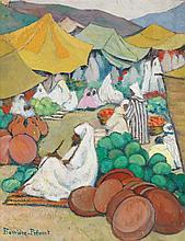 MARGUERITE BARRIÈRE-PRÉVOST (1887-1981) LES MARCHANDS DE PASTÈQUES THE WATERMELON SELLERS Gouache sur carton signée en bas à gauche