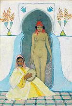 MARGUERITE BARRIÈRE-PRÉVOST (1887-1981) JEUNE FILLE AU TAMBOURIN YOUNG GIRL WITH A TAMBOURINE Gouache sur carton signée en bas à dro...