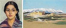 MARGUERITE BARRIÈRE-PRÉVOST (1887-1981) - PORTRAIT DE JEUNE FILLE - MONTAGNES ENNEIGEES PORTRAIT Of A YOUNG GIRL SNOWY MOUNTAINS Un ...