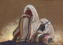 PAUL NÉRI (1910-1965) FEMMES DE KEMIS WOMEN Of KEMIS Technique mixte sur papier teinté, signée, située et datée (19) 28 en bas à droite
