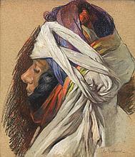 JULES VAN BIESBROECK (1873-1965) ORIENTALE AU TURBAN ORIENTAL WITH A SHAWL Pastel sur papier signé en bas à droite. À vue : 33,5 x 2...