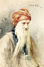 CONSTANT-GEORGES GASTÉ (1869-1910) LE VIEUX SAGE AN OLD WISEMAN Aquarelle sur papier, signée, située LeCaire et datée 1903 en haut ...