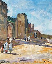 HENRI PONTOY (1888-1968) ARRIVÉE DEVANT LE VILLE MAROCAINE ARRIVING AT THE MOROCCAN TOWN Huile sur carton signée en bas à droite. À ...