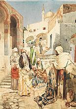 ETTORE SIMONETTI (1857-1909) ÉLÉGANTES DANS LE SOUK DES TAPIS BEAUTIES LOOKING AT CARPETS IN THE BAZAR Aquarelle sur papier signée, ...