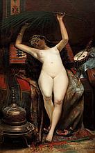 CAMILLE CLERE (1825-1918) ODALISQUE À LA PALME ODALIQUE WITH A PALM LEAF Huile sur toile signée et datée (18) 75 en bas à droite. 18...
