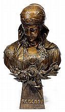 ÉCOLE ORIENTALISTE (XIXe-XXe siècle) REBEKKA REBEKKA Épreuve en terre cuite à patine brune représentant une jeune fille en buste. El...