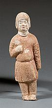 A terracotta mingqi, China, Tang dynasty. H.8 7/16 in.