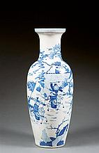 A blue and white vase, guanyin, China, Qing dynasty, 19th century.23 3/4 in.