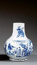 A blue and white vase, China, Qing dynasty, Kangxi period. H.11 1/4 in.
