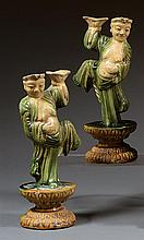 Two sancai candlestick holders, China, Ming dynasty, 17th century. H.10 5/8 in.
