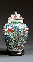 A wucai jar and cover, China, China, Transition periodH.14 3/4 in.