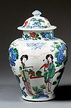 A wucai jar and cover, China, China, Qing dynasty, Kangxi period. H.13 3/8 in.