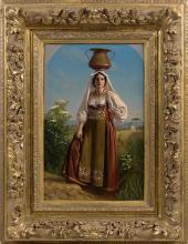 ACHILLE BENOUVILLE (PARIS 1815 - 1891)NAPOLITAINE DANS UN CINTRE PEINT