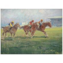 Louis Fortuney (1878-1950) Course de chevaux, 1947