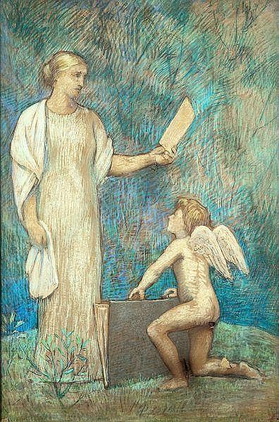 Pierre Puvis de CHAVANNES (1824-1898) Madame Lithographie Fusain et pastel Signé dans le bas Plusieurs accidents 124 x 83,5 cm En août