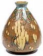 Louis LOURIOUX (1874-1930) Vase ovoïde en grès à col évasé, à décor de feuillages en chute et de grappes stylisées, émaux bleus, ver..., Louis Lourioux, Click for value