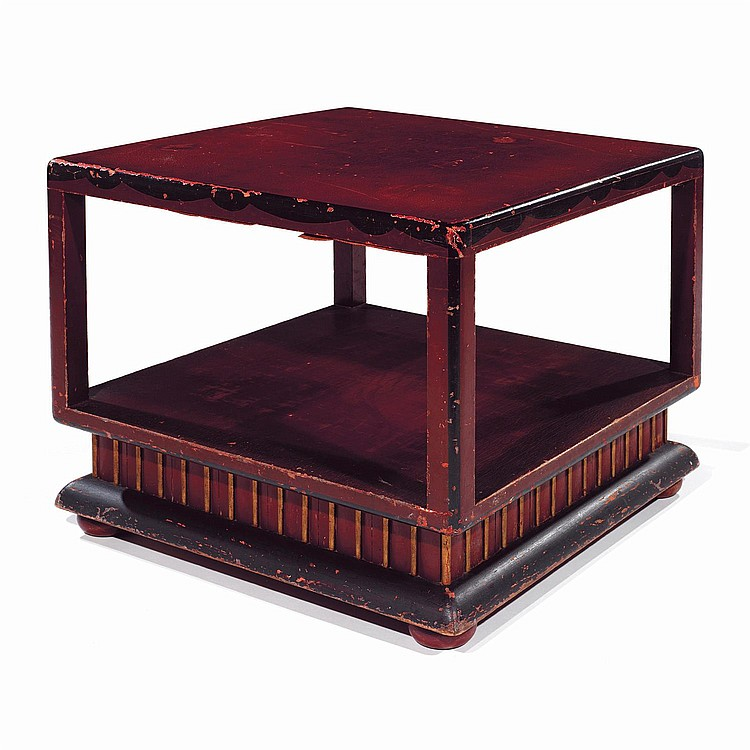 Ann es 20 table basse carr e structure en bois laqu roug - Table basse noir et rouge ...