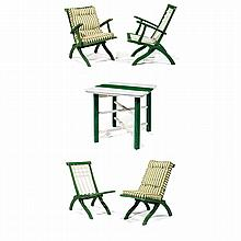 PIERRE DARIEL (ÉDITEUR) A folding garden furniture, green and off-white lacquered wood, including two armchairs, two chairs and a sq...
