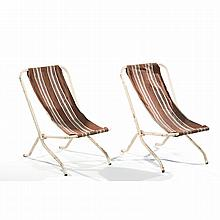 A pair of folding chairs, white lacquered tubular structure.