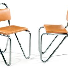 W. H. GISPEN A pair of tubular chrome-plated steel framed chairs, circa 1930, wooden seat and backrest upholstered with gold leather. S