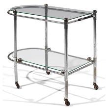 THONET (ATTRIBUÉ À)Desserte roulante moderniste, à double plateau en verre, structure métallique tubulaire nickelée, piétement quadr...