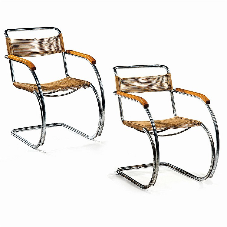 ludwig mies van der rohe 1886 1969 a pair of tubular chrom. Black Bedroom Furniture Sets. Home Design Ideas