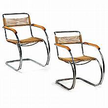Ludwig MIES VAN DER ROHE (1886-1969) A pair of tubular chrome-plated steel framed