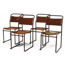 BRUNO POLLACK (XXe) & PEL LTD (ÉDITEUR) Suite de quatre chaises