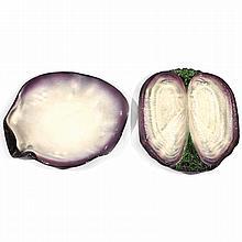 POL CHAMBOST (1906-1983) Suite de deux grands plats coquillages en faïence, circa 1950, l''un formant coquille circulaire, et l''autre...
