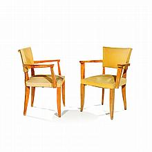 MAXIME OLD (1910-1991)RA pair of neoclassical bridge ash armchairs, yellow ottoman upholstery (used). RH 32 1/4 x W 25 x D 20 1/2 i