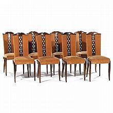 CHRISTIAN KRASS (1868-1957) Suite de huit chaises néo-classiques à structure en noyer, piétement sabre, assise écusson à châssis mob...