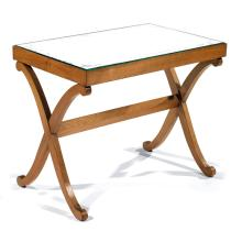 André ARBUS (1903-1969) A small cherry wood table with a mirror top (which is not original). Height. 19 5/8 - Top 24 x 15 3/4 IN.