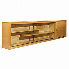 Suzanne GUIGUICHON (1900-1985) Spectacular modernist bookcase-glass case, circa 1938, made of sycamore veneer, with a plane-parallel st