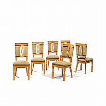 ANDRÉ ARBUS (1903-1969) A set of six ash veneer and ash chairs, grey and white imitation leather upholstery. H 38 1/4 x W 17 3/4...