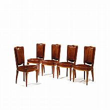 ANDRÉ ARBUS (1903-1969)RA set of five neoclassical beech and beech veneer chairs, cognac leather upholstery.RH 38 5/8 x W 20 1/2 x