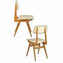 EZIO LONGHI & ELAM (Éditeur) Paire de chaises, 1958, structure en bois clair, piétement fuselé méplat monté de biais, réuni par des...