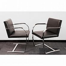 LUDWIG MIES VAN DER ROHE (1886-1969) & KNOLL (ÉDITEUR) BRNO, dessin de 1929 Suite de six fauteuils à structure cantilever en lame d''...
