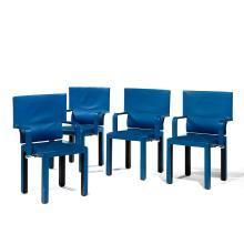 PAOLO PIVA (NÉ EN 1950) - B & B (ÉDITEUR) Arcadia modèle G Suite de quatre fauteuils bridge à structure géométrique en métal et bois...