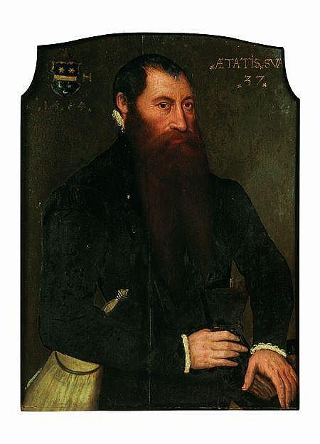 Attribué à Nicolas NEUfCHATEL (1527-1590) Portrait de gentilhomme en buste