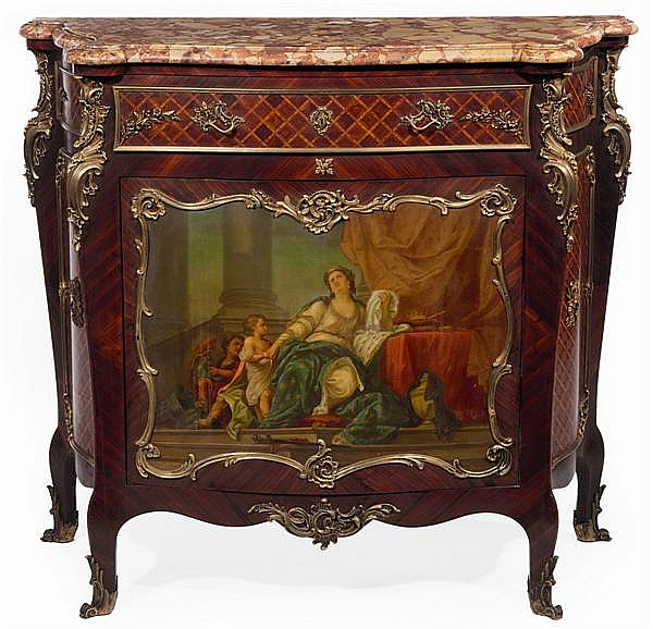 MEUBLE A HAUTEUR D'APPUI de forme mouvementée en placage de bois de rose, de bois de violette à décor de réserves marquetées de croi...