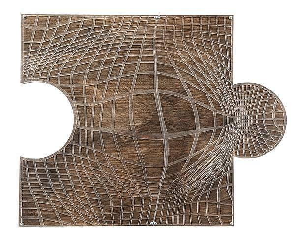 MIGUEL CHEVALIER (né en 1959) Pixel Op'Art, 2012 Plexiglas découpé sur bois peint Titré, daté et signé sur la tranche 39,5 x 50 cm