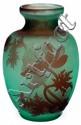 Émile GALLÉ (1846-1904) Vase ovoïde à corps méplat et col évasé, en verre multicouche satiné rouge sur fond vert, à décor gravé à l'...